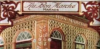Publicidade da Grands Magasin Au Bon Marche em Manaus, na época da Belle époque