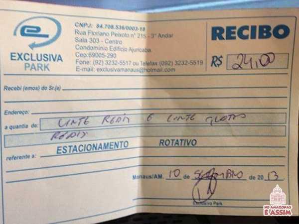 Recibo de um estacionamento que fica no centro . Antes ele pagava R$6,00 por 3h e hoje olha quanto ele pagou de 8h38 a 11h43......... fonte : Alô Amazonas