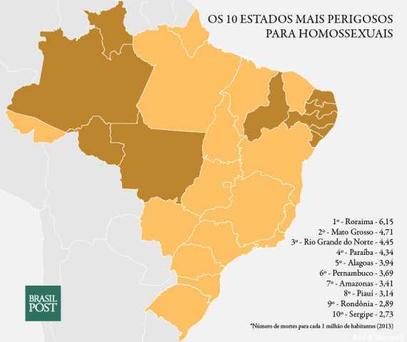 Os 10 piores estados do Brasil para ser gays