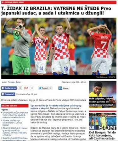 Jornal croata destaca jogo em Manaus (Foto: Reprodução)