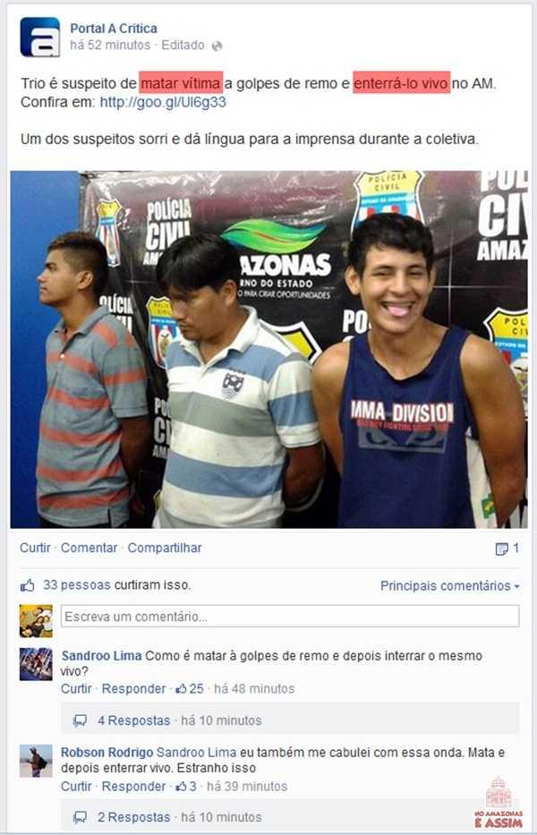 Matar a vítima a golpes de remo e enterrá-lo vivo só no Amazonas