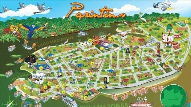 Mapa de Parintins para Estrangeiros