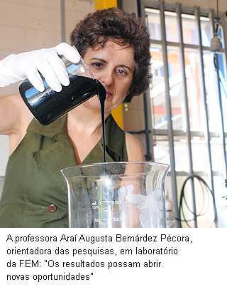 """A professor Araí Augusta Bernádez Pécora, orientadora das pesquisas, em laboratório da FEM: """"Os resultados possam abrir novas oportunidades""""."""