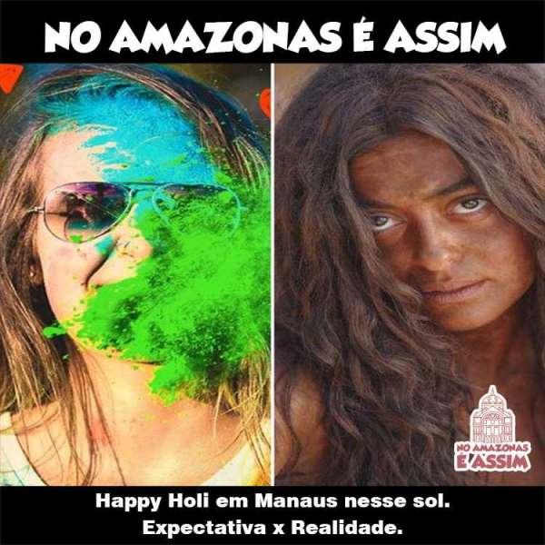 Happy Holi em Manaus nesse sol. Expectativa x Realidade.