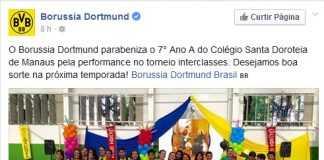 Borussia Dortmund parabeniza alunos do Colegio Santa Doroteia em Manaus