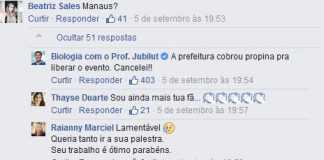 Prefeitura de Manaus cobrou propina pra liberar o evento do Prof. Jubilut