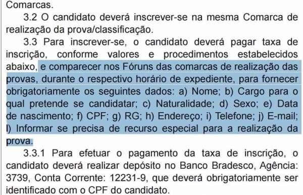 Concurso TJAM 8ª Sub-região exige inscrição presencial