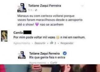 Tatiane Zaqui Ferreira dá um corte épico em uma fã no Facebook