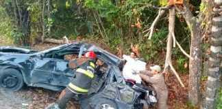Bombeiros tiveram que serrar partes do carro (Foto: Divulgação/Corpo de Bombeiros-AM)