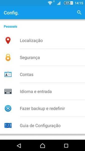 Configurações do celular