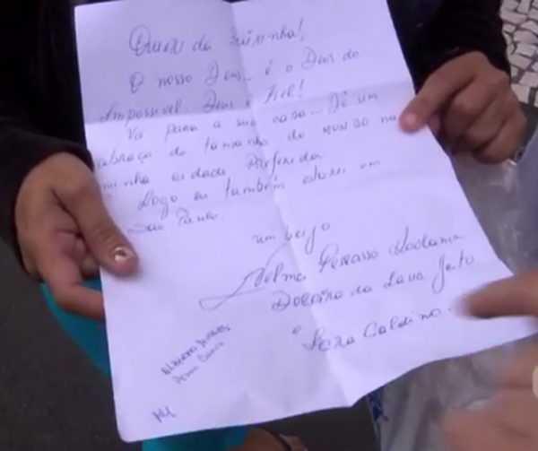 Carta assinada pelas doleiras Nelma Kodama e Iara Galdino,