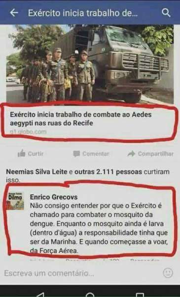 Por que o exército tem que lutar contra o mosquito da dengue??