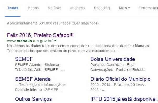 Hackers atacam o site da Prefeitura de Manaus