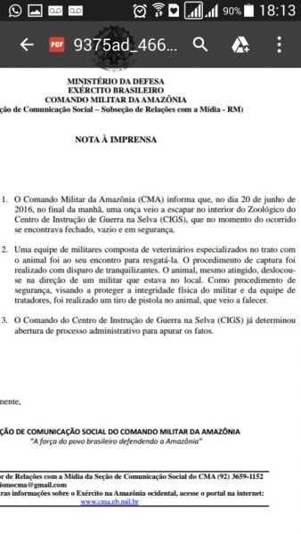 Nota do Exercito Brasileiro