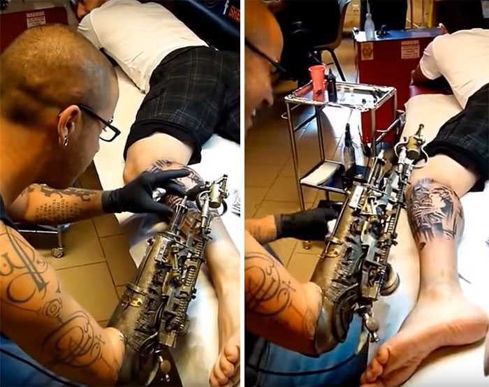 Tatuador que perdeu o braço ganha a primeira prótese do mundo que é uma máquina de tatuagem