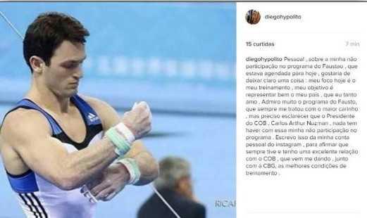 Diego Hypolito desabafa após ser proibido de aparecer no 'Domingão do Faustão'