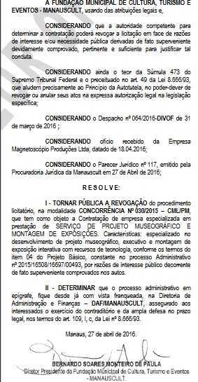 ManausCult revoga contrato com empresa investigada por irregularidades na Lei Rounet