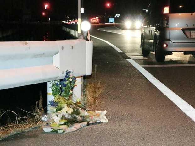 Flores foram colocadas no local onde pedestre foi atropelada por caminhoneiro jogando Pokémon Go no Japão (Foto: Kyodo/Reuters)