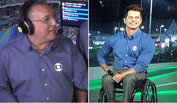 Gafe: Galvão Bueno pede para atleta cadeirante ficar de pé durante hino