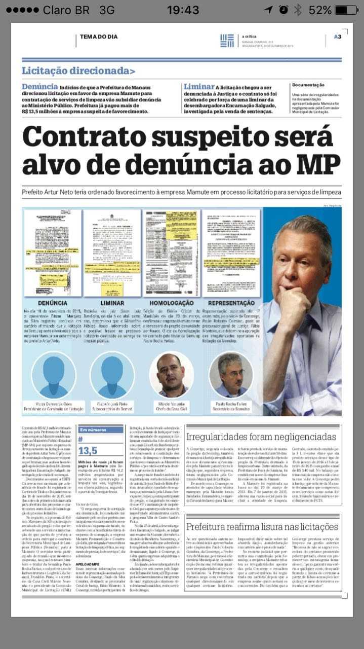 Contrato suspeito será alvo de denúncia ao MP