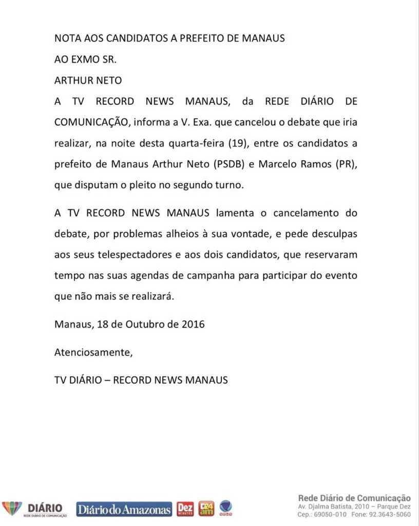 Debate da Rede Diário do 2º turno entre candidatos a prefeito de Manaus é cancelado
