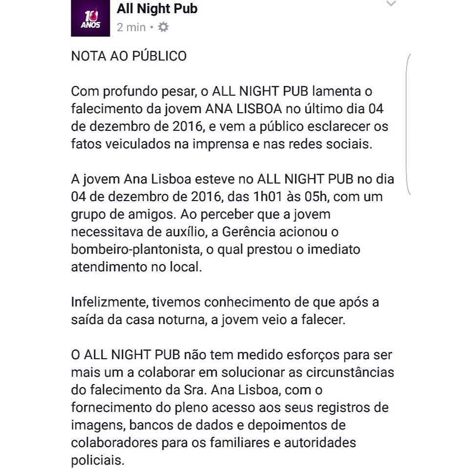 All Night Pub divulgou nota