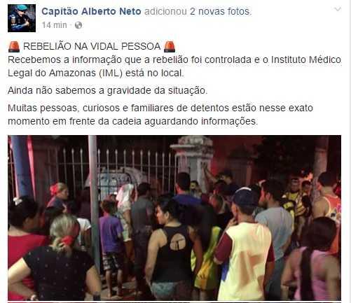 Ultimas informações publicadas pelo Capitão Alberto Neto- Facebook
