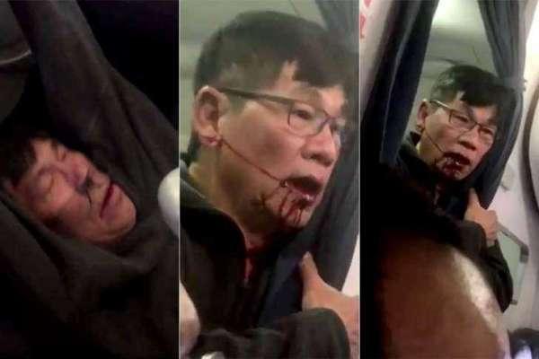 Passageiro retirado à força do avião da United Airlines - Imagem de reprodução do Youtube