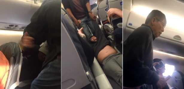 Vídeo mostra passageiro sendo agredido e arrastado pelo corredor do avião - Imagem Youtube