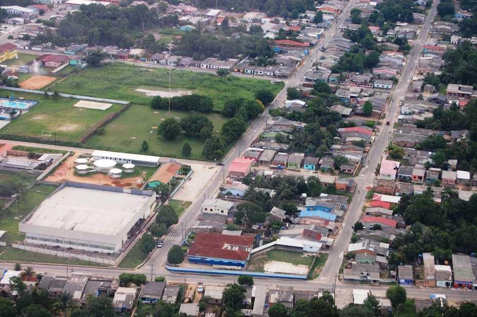 Turismo e cultura no estado do Amazonas, Brasil. Vista Parcial da cidade de Manicoré, Amazonas, Brasil.