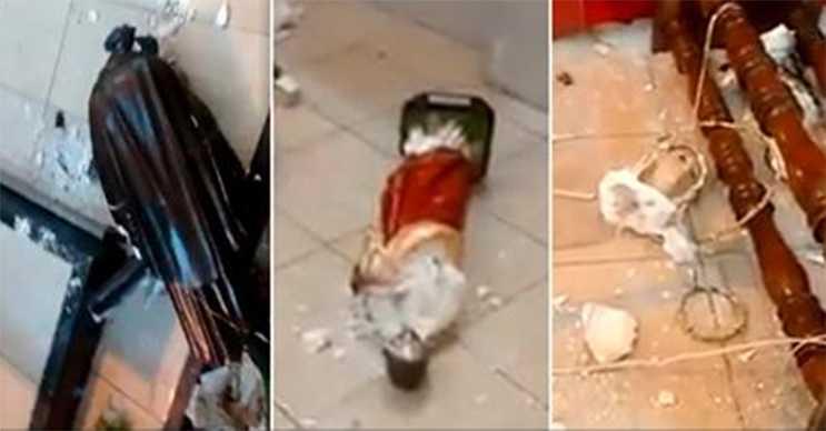 Homem invade o Santuário de São Benedito e destrói imagens de santos / Reprodução Facebook