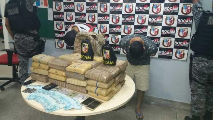 Traficantes presos com mais de 50 kg de maconha / Foto Divulgação Whatsapp