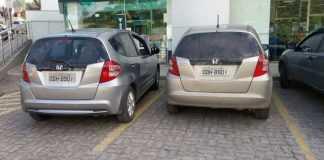 Ao consultar do chassi do Honda Fit, a polícia descobriu que carro foi roubado no município de Feira de Santana, na Bahia (Foto: Divulgação/ Polícia)