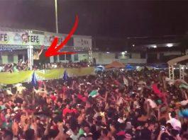Prefeito Povão : Normando Bessa comemora aniversário de Tefé girando a camisa com a multidão / Reprodução Youtube