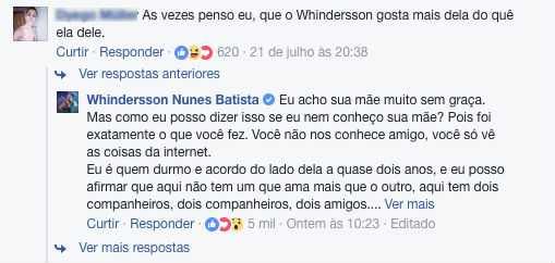 Whindersson Nunes rebate internauta / Foto: Reprodução/Facebook