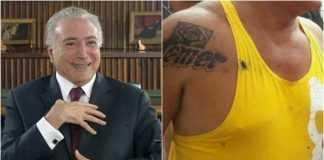 Deputado paraense tatua nome de Temer no ombro - Imagem: Divulgação