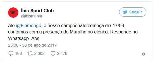 Ibis zoa o Muralha após eliminação do Flamengo / Reprodução Twitter