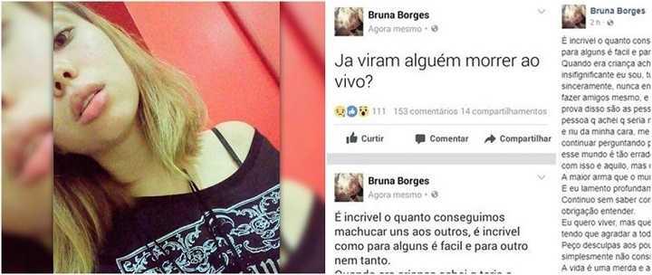 Suicídio: Bruna Borges tirou a própria vida em transmissão ao vivo.