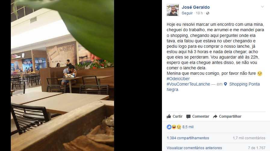 Jovem marca encontro em Shopping e a história termina de forma inusitada em Manaus / Reprodução Facebook