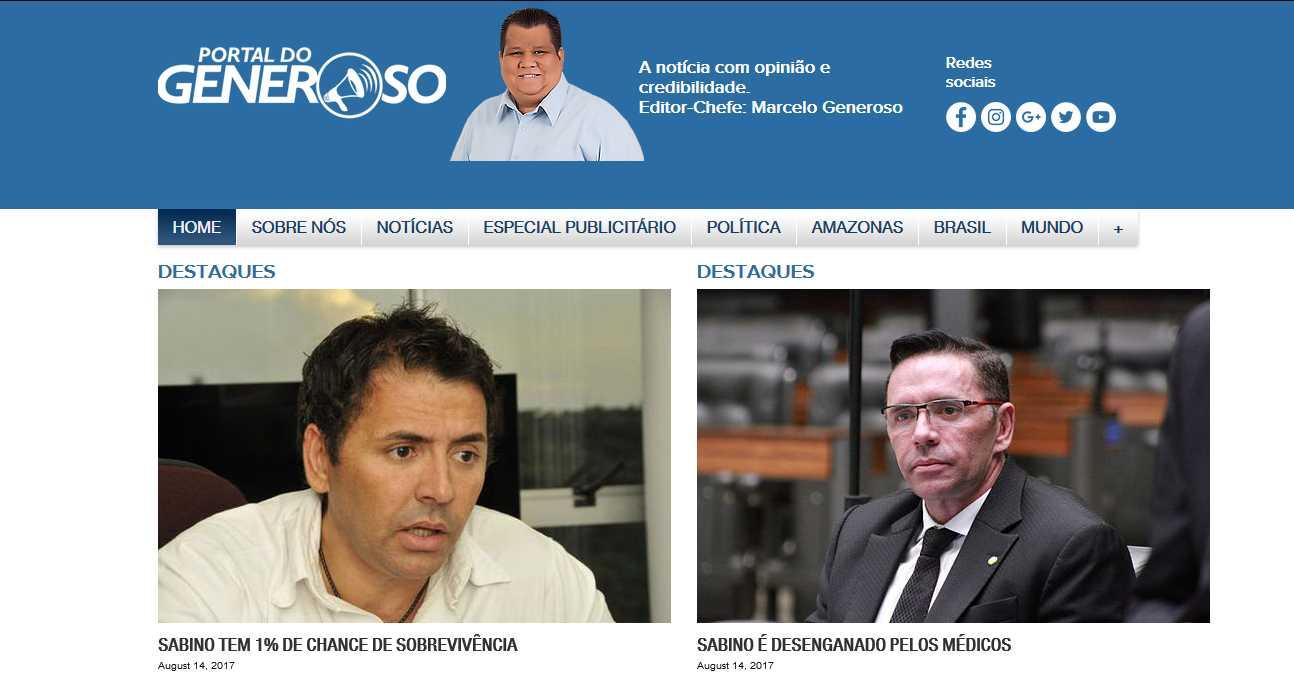 Portal do Generoso afirma que Sabino Castelo Branco está morto / Reprodução