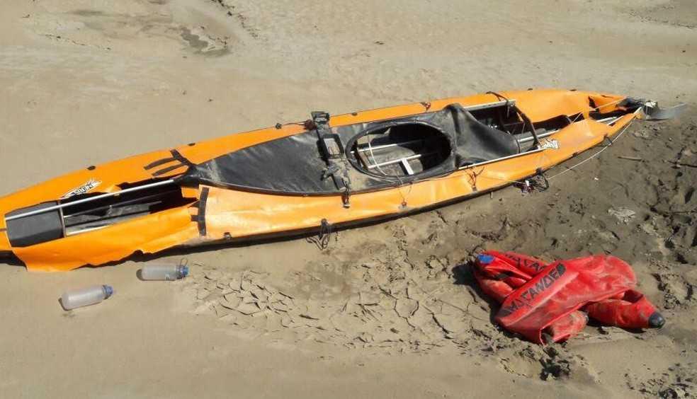 Caiaque da britânica despaparecida encontrado no Amazonas (Foto: Divulgação/Marinha)