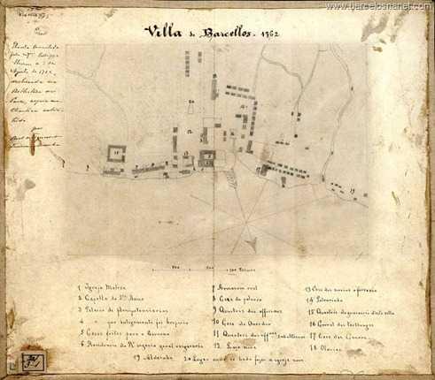 Planta Detalhada da Vila de Barcelos de 1762 , onde mostra toda estrutura e prédios existentes na Vila de Barcelos.