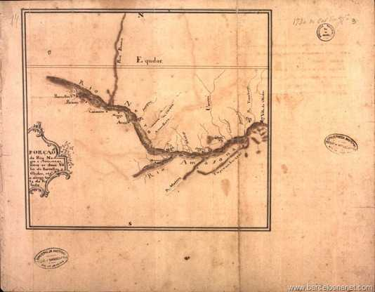Porção do Rio Negro e Amazonas, entre as duas vilas de Barcelos e Óbidos, segundo a antiga carta do Estado.