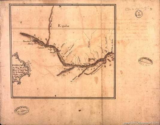 Porção do Rio Negro e Amazonas, entre as duas vilas de Barcelos e Óbidos, segundo a antiga carta do Estado.