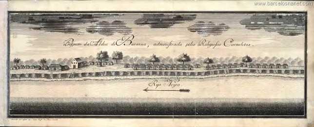 Prospecto da Vila de Thomar, chamada antes Bararuá. Administrada pelos Religiosos Carmelitas