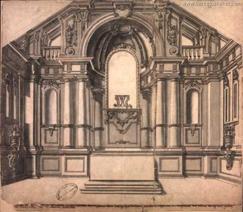 Prospecto da pintura que fez o capitão Antônio José Landi na capela-mor da Igreja Matriz da Vila Capital de Barcelos, no ano de 1785, grátis. Deu-o para o Real Gabinete de História Natural.