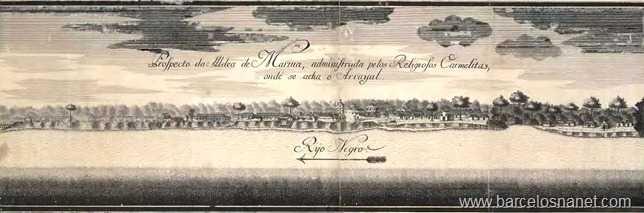Prospecto da aldeia de Mariua, administrada pelos Religiosos Carmelitas, onde se acha o Arrayal. / Reprodução Barcelos na Net