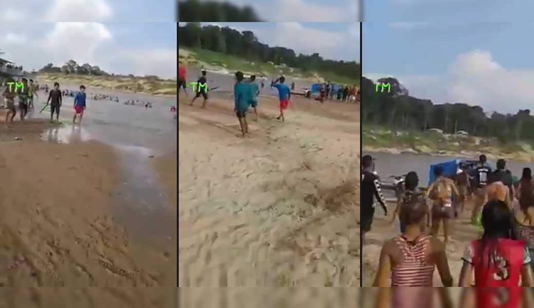 Briga de galera com terçado em praia, supostamente no interior do Amazonas, viraliza nas redes sociais / Reprodução Youtube