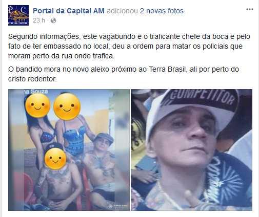"""Denuncia na fanpage do """"Portal da Capital AM"""" feita em Domingo, 24 de setembro de 2017 às 11:08 / Reprodução Facebook"""