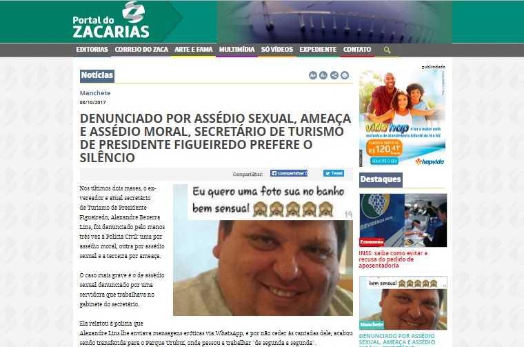 Secretário de Presidente Figueiredo é acusado de assédio sexual, assédio moral e ameaça - Imagem: Portal do Zacarias